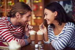Having dessert in cafe Royalty Free Stock Image