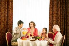 Having dinner Royalty Free Stock Images