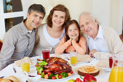 Having dinner together Stock Photography