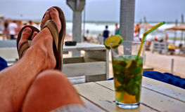Having a Drink at Beach Lounge Royalty Free Stock Images