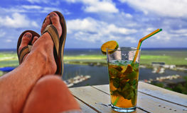 Having a Drink at Sea View Lounge Stock Photos