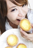 Having Egg Tarts Stock Image