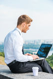 Having freedom to work everywhere. Royalty Free Stock Photography