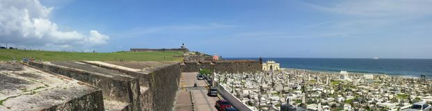 Having a full view of the Caribbean. Panoramic view of the Cemetery Santa María Magdalena de Pazzi and Patio del Morro Castle, Old San Juan, Puerto Rico. 06/ stock images