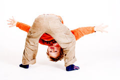 Having fun. A sweet young boy has fun with sports royalty free stock photography
