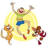 Having fun. Vector cartoon of group of a cat, dog and boy having fun Stock Photo