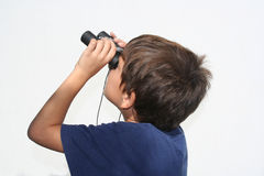 Having fun. Child and binocular Royalty Free Stock Image