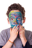 Having Fun. Photo of a kid having fun with painted face. Isolated on white backgound Royalty Free Stock Photo
