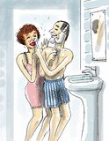 Having fun in the bathroom. Shaving man is putting a shaving foam on her partner's nose Royalty Free Stock Images