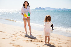 Having fun with a beach ball Royalty Free Stock Images