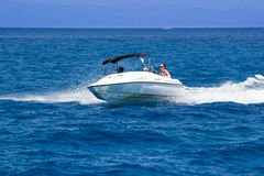 Having fun on a boat Stock Image