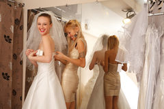 Having fun in bridal Boutique Royalty Free Stock Photography