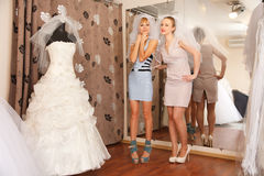 Having fun in bridal Boutique Royalty Free Stock Images