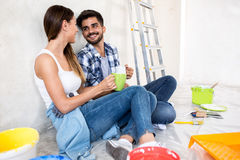Having fun and coffee while renovation home. Family having fun and coffee while renovation home royalty free stock images