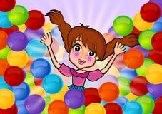 Having fun in colorful balls. Little girl playing in colorful plastic balls illustrations. The girl character name is Gloria Stock Image