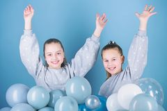 Having fun concept. Balloon theme party. Girls best friends near air balloons. Birthday party. Happiness and cheerful royalty free stock image
