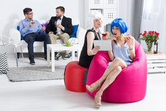 Having fun at corporate costume party Royalty Free Stock Photos