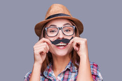 Having fun with face mustache. Stock Images
