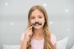 Having fun with fake mustache. Happiness and humor concept. Kid long hair happy smile face. Girl carefree child having. Fun with mustache. Play with mustache stock photos