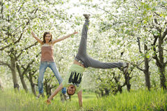 Having Fun in Garden Stock Images