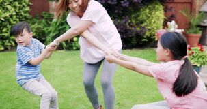 Having fun in the Garden with Mum. Two children are playing in the garden in summer with their mother stock video