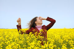The having fun girl in the field Royalty Free Stock Photos
