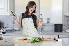 Having fun in the kitchen Royalty Free Stock Photo