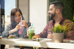 Having fun on a lunch date Royalty Free Stock Images