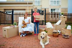 Having  Fun on Moving Day Stock Photography
