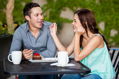 Having fun with my date at a cafe Stock Photography