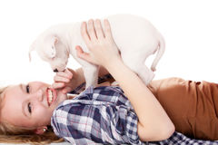 Having fun with my puppiy Royalty Free Stock Photos