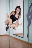 Having fun at pole fitness class Royalty Free Stock Photo