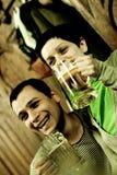 Having fun in restaurant. Couple having fun in restaurant; Image shows noise Stock Image