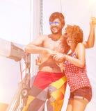 Having fun on sailboat Stock Photography