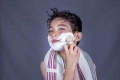 Having fun with shaving cream. Royalty Free Stock Photography