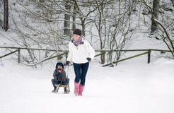 Having Fun In The Snow Royalty Free Stock Images