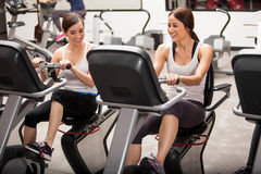 Having fun in spinning class Stock Photo