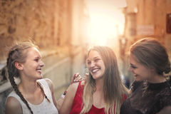Having fun on the street. Friends are having fun on the street Royalty Free Stock Images