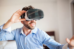 Having fun with VR glasses Royalty Free Stock Images