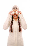Having fun in warm winter clothing Royalty Free Stock Images