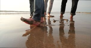 Having Fun with Wet Sand stock footage