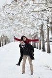 Having fun in winter scene stock photography