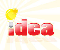 Having a good idea!. Dimensional idea text with reflections and light bulb against beams background Stock Photos