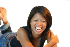 Having a good laugh. Attractive philippine woman having a laugh Royalty Free Stock Photography