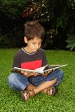 Having a good time. Child reading sitting down on the grass Royalty Free Stock Images