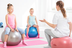 Having good time during posture correction classes Stock Images