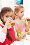 Having a healthy snack Stock Images