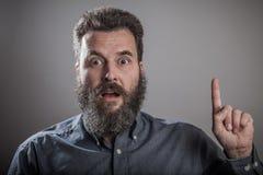 Having idea, Huge beard portrait, mature adult Caucasian man Royalty Free Stock Image