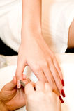 Having Manicure Stock Images