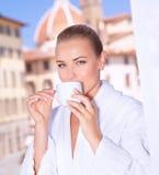 Having morning tea Royalty Free Stock Photography